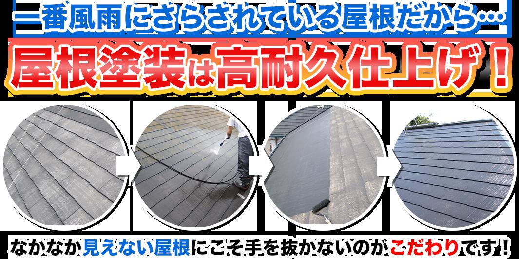 一番風雨にさらされている屋根だから…屋根塗装は高耐久仕上げ!なかなか見えない屋根にこそ手を抜かないのがこだわりです!