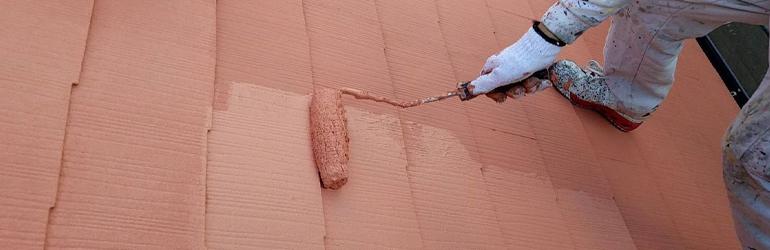 屋根塗装 上塗り作業